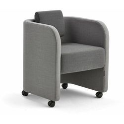 Fotel COMFY, na kółkach, wełna, jasnoszary/ciemnoszary
