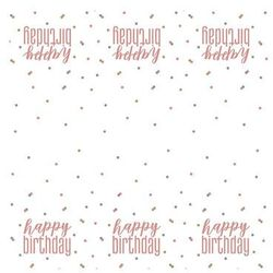 Obrus urodzinowy różowe złoto Happy Birthday - 137 x 213 cm - 1 szt.