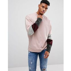 ASOS Oversized Sweatshirt With Velour Colour Blocking Sleeve Panels - Pink