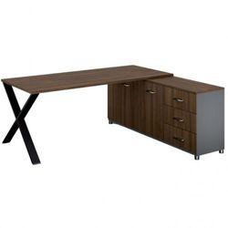 Biurowy stół roboczy ALFA X z szafką po prawej, blat 1800 x 800 mm, wzór orzech