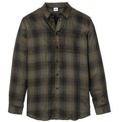 Koszula z miękkiej flaneli z długim rękawem bonprix ciemnooliwkowo-czarny w kratę