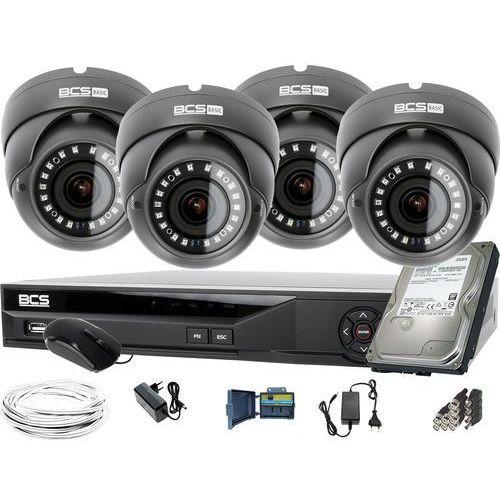 Zestawy monitoringowe, 4x BCS-B-DK82812 BCS Basic 8MPx zestaw do monitoringu Dysk 1TB Akcesoria