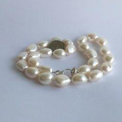Naszyjnik supełkowany - perły białe wielkie corn PES02-1