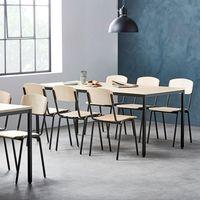 Meble do restauracji i kawiarni, Zestaw mebli do stołówki, stół 1800x800 mm, brzoza + 6 krzeseł, brzoza/czarny