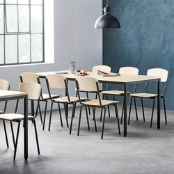 Zestaw mebli do stołówki, stół 1800x800 mm, brzoza + 6 krzeseł, brzoza/czarny