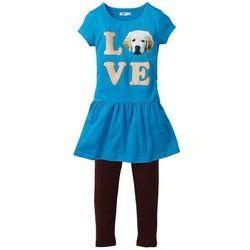 Sukienka + legginsy (2 części) bonprix z nadrukiem turkusowy-ciemnobrązowy
