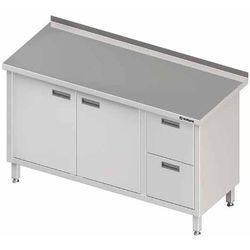 Stół przyścienny z blokiem dwóch szuflad po prawej stronie i szafką z drzwiami skrzydłowymi 1900x600x850 mm | STALGAST, 980336190