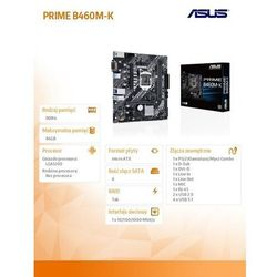 Asus Płyta główna PRIME B460M-K s1200 4DDR4 HDMI/DP M.2 USB3.2 mATX
