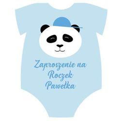 Zaproszenia personalizowane Panda na roczek błękitne - 8 szt.