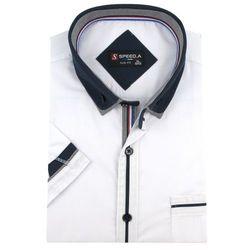 Koszula Męska Speed.A gładka biała SLIM FIT z podwójnym kołnierzykiem na krótki rękaw K639
