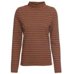 Shirt z długim rękawem i golfem bonprix czerwony - w paski