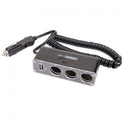 Rozgałęziacz samochodowy 12V 3 wtykowy + USB