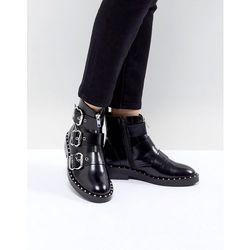 ASOS DESIGN Alena Leather Multi Buckle Ankle Boots - Black