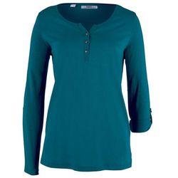Shirt bawełniany z plisą guzikową, długi rękaw bonprix niebieskozielony morski