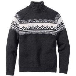 Sweter z golfem bonprix antracytowy melanż wzorzysty