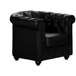 Fotel z materiału skóropodobnego CHESTERFIELD - Czarny
