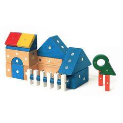 Klocki drewniane magnetyczne - Domki 32 el.