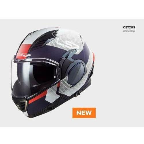 Kaski motocyklowe, KASK MOTOCYKLOWY LS2FF900 VALIANT II CITIUS WHITE BLUE nowość 2021 roku