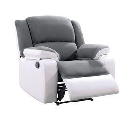 Fotel BILSTON II – typ relaks, mikrofibra i skóra syntetyczna – kolor szaro-biały