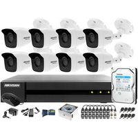 Zestawy monitoringowe, Kompletny zestaw po skrętce do monitoringu apteki, magazynu Hikvision Hiwatch Turbo HD, AHD, CVI HHWD-6108MH-G2, 8 x HWT-B140-M, 1TB, Akcesoria