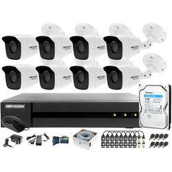 Kompletny zestaw po skrętce do monitoringu apteki, magazynu Hikvision Hiwatch Turbo HD, AHD, CVI HHWD-6108MH-G2, 8 x HWT-B140-M, 1TB, Akcesoria