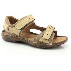 KENT 295 BRĄZOWY - Męskie sandały skórzane - Brązowy ||Beżowy