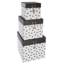 Pudełko ozdobne na drobiazgi ATOMIC HOME - 3 sztuki w komplecie, kolor biały