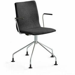 Krzesło konferencyjne OTTAWA, nogi pająka, podłokietniki, czarna tkanina, szary