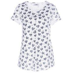 Shirt z przędzy mieszankowej, krótki rękaw bonprix biały z nadrukiem