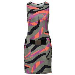 Sukienka z kieszeniami bonprix oliwkowy z nadrukiem