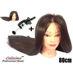 Główka Fryzjerska Treningowa Iza Brown Włos Termiczny 80 cm + Uchwyt