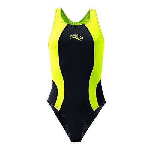 Stroje kąpielowe dziecięce, Strój kąpielowy bonprix czarno-jaskrawy żółty