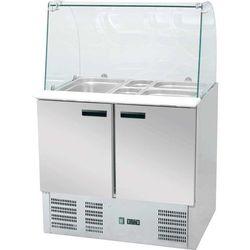 Stół chłodniczy 2-drzwiowy z nadstawą sałatkową 900x700x1300 mm | STALGAST, 842222