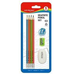 Ołówek drewniany KEYROAD Zestaw gumką i temperówką HB blister mix kolorów