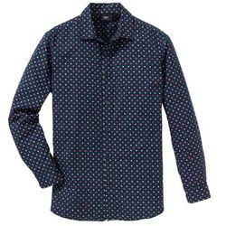 Koszula z długim rękawem, w delikatny deseń Regular Fit bonprix ciemnoniebieski