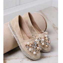 Espadryle z perłami Madam Minion beżowe