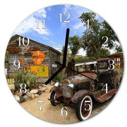 Zegar szklany okrągły Stary samochód