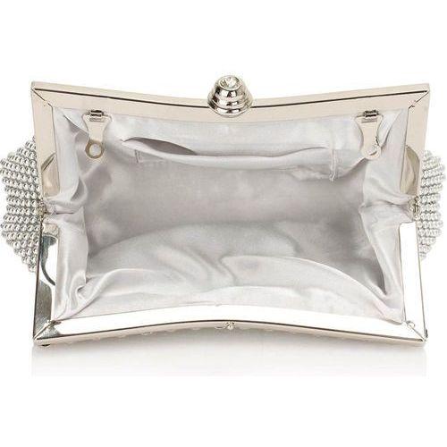 Torebki, Biała torebka wizytowa z opalizujących koralików - biały