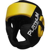 Ochraniacze i kaski do sportów walki, Beltor kask sparingowy Platinum Fighter Guardian czarno-żółty