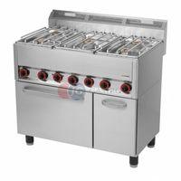Piece i płyty grzejne gastronomiczne, Kuchnia gazowa 5-palnikowa z piekarnikiem elektrycznym Red Fox linia 600 SPT 90/5 GLS