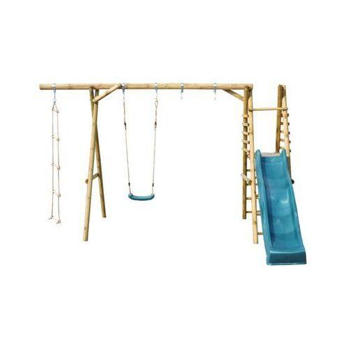 Huśtawki ogrodowe dla dzieci, Huśtawka dla dzieci ze zjeżdżalnią KOALA 1 drewniana SOBEX
