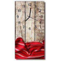 Zegar Szklany Pionowy Obrus drewno czerwony