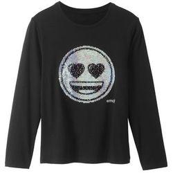 """Shirt z długim rękawem i aplikacją z dwustronnych cekinów """"EMOJI"""" bonprix czarny"""