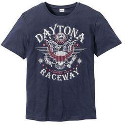 T-shirt z nadrukiem bonprix ciemnoniebieski