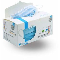 Niebieskie maseczki jednorazowe medyczne 3-warstowe z filtrem (50szt)