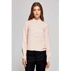 Koszulowa Bluzka Polo z Niską Stójką - Wzór Różowa