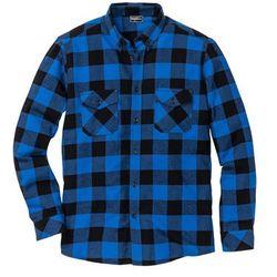 Koszula flanelowa z długim rękawem Slim Fit bonprix lazurowo-czarny w kratę