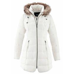Krótki płaszcz z kapturem, na podszewce bonprix biel wełny