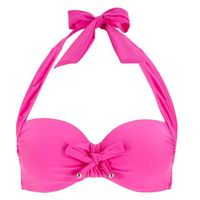 Stroje kąpielowe, Biustonosz bikini z ramiączkami wiązanymi na szyi bonprix bez