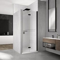 Sanswiss Solino F drzwi do wnęki składane 90 cm prawe czarne SOLF1D09000607